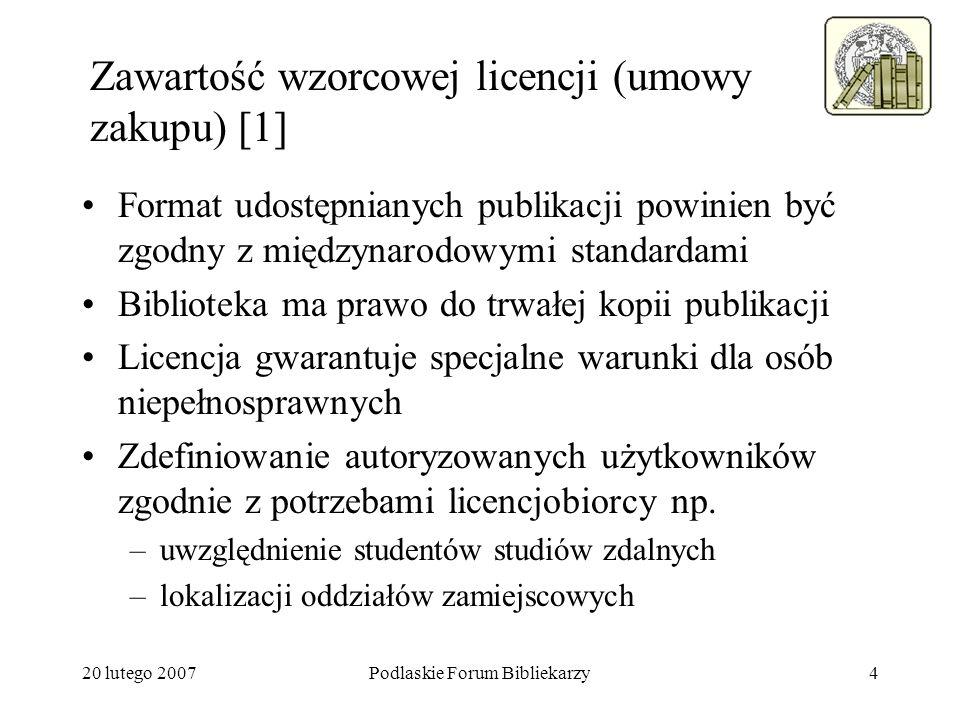 Zawartość wzorcowej licencji (umowy zakupu) [1]